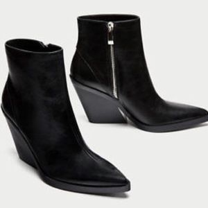 Zara Black Slanted Heel Cowboy Ankle Booties